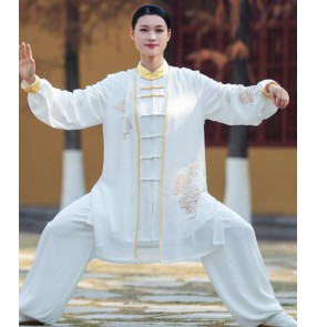 gold Xiangyun Tai Chi clothing for women and men new wushu performance competition suit three-piece kungfu practice outfits for male