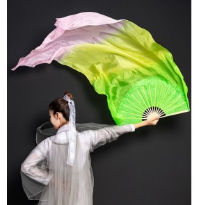 Green pink mulberry Silk dance fan yangko fan dance with lengthened gradient long silk fan belly dance performance classical hanfu fairy dancing fan