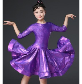 green pink white Girls children competition latin dance dresses kids stage performance rumba samba chacha dance dress skirts