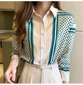 Green Polka-dot shirt office lady blouses women's long-sleeved tops chiffon spring slim all-match shirt