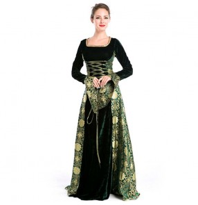 Halloween Costumes European Medieval Robe Europe folk dance Costumes European American drama cosplay dresses Stage retro Performance Costumes