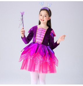 Halloween fairy cosplay costume for girls princess dress butterfly elf wings performance costume long-sleeved flower fairy costume