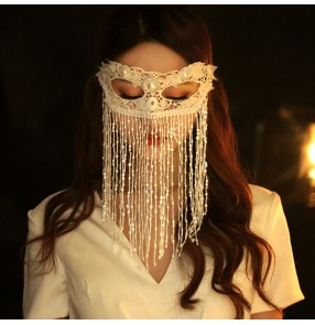 Halloween masquerade party cosplay tassels mask for women girls stage dance performance masked half face tassel white fairy masks