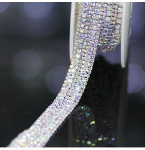 Hand sewn AB diamond chain head scarf ornaments DIY headdress dress dance clothes DIY decoration waist chain wedding belt 45cm