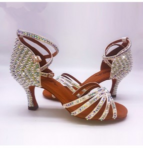 Handmade beads rhinestones professional competition women's girls ballroom latin dance shoes sandals