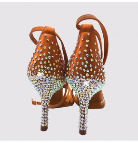 Handmade rhinestones women's girls competition ballroom latin dance shoes 8.5cm heel height