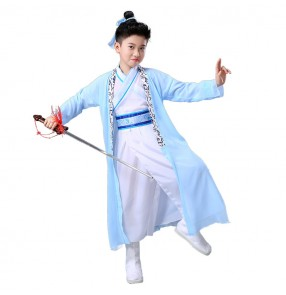 Hanfu boy kids children stage performance traditional chinese folk dance costumes kids children warror robes dresses