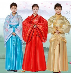 Hanfu Chinese folk dance dresses for women red gold traditional fairy Japanese drama kimono cosplay robes costumes