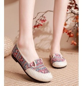 Hanfu ethnic embroidered fairy shoes for women Old Beijing clothing shoes for women girls folk dance soft-soled flat shoes