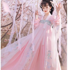 Hanfu for female Chinese Traditional Folk costumes light pink film drama cosplay fairy empress photos shooting dress oriental Han Tang ancient classical dance clothes for women