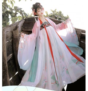 Hanfu for women female Chinese style ancient traditional han tang ming dynasty clothing for women fairy empress cosplay costume full chest skirt
