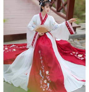 Hanfu For women Han Tang Ming qing Dynstay chinese traditional clothing  express fairy cosplay dressesfemale Jin-made cross-collar waist ru skirt photos shooting cotumes