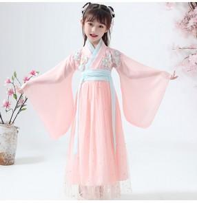 Hanfu girls pink Fairy dresses child Chinese style Ancient costume fairy princess photos shooting dresses ancient style skirt Sakura Princess
