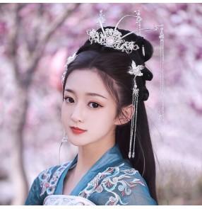 Hanfu Hair Crown for women girls Ancient style film drama cosplay fairy princess long fringe hair accessories Han Dynasty Ming Xiuhe headdress Accessories