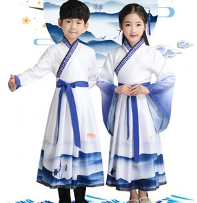 Hanfu korean kimono dresses Children stage performance confucisus school  robes chinese folk dance dress drama cosply robes