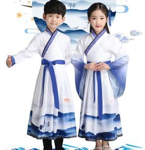 Hanfu korean kimono dresses Children stage performance confucisus school  robes chinese folk dance dress drama cosply robes