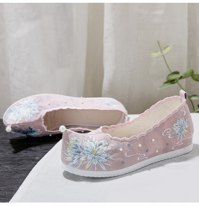 hanfu princess Embroidered clothing shoes for women girls china ancient stage performance kimono dress cosplay retro flat shoes for female