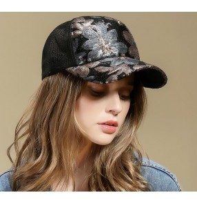 Hat women summer baseball cap hiphop jazz dance sequined hats Fashion sequin sunhat cap with face shield as gift