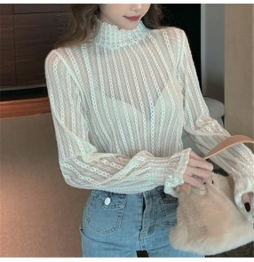 High neck lace bottoming shirt for women female fashion sexy hollow bottoming shirt top for women
