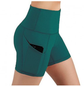 High waist yoga shorts for women diagonal pockets running training sports tight fitness gyms workout shorts