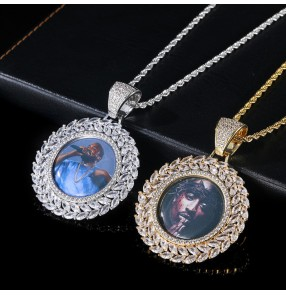 Hip-hop custom Photo fashion family memory necklace wheat ear round photo frame solid photo pendant inlaid zircon trendy personality wedding anniversary birthday DIY gift necklace