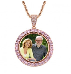 Hip-hop rotating custom photo necklace wedding anniversary lover day father day double-sided personalized custom photo family memory necklace frame pendant diy collection