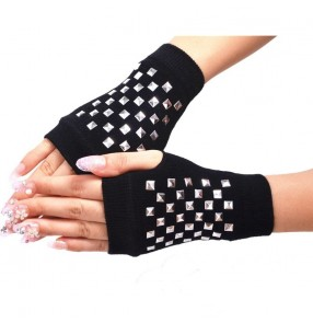 hiphop stage performance dance gogo dancers rivet gloves model show video shooting mittens gloves for unisex
