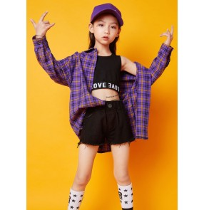Hiphop Street dance costumes for girls hip-hop style jazz dance outfits child purple plaid shirt modern dance rapper gogo dancers performance clothing for kids