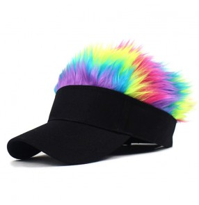 Hiphop street dance faux hair visor cap for unisex fashion outdoor sports baseball sun hat for women and men