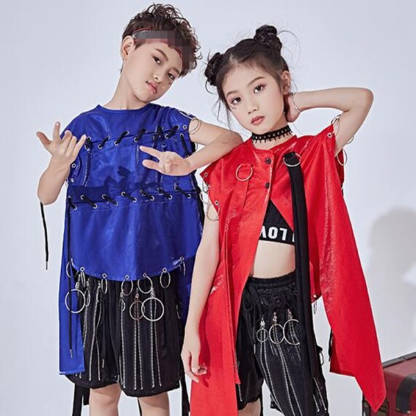 7fd548bfb70f5 hiphop street modern dance outfits for girls boys royal blue singers jazz  rap break dance school competition stage performance gogo dancers tops and  shorts