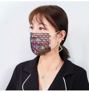 Hollow bling face masks for women stage performance nightclub masquerade party face masks bar belly dance jewelry for female