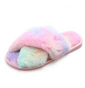 Home Plush slippers women fashion colorful cross open toe plush slippers plus size home fur indoor slippers