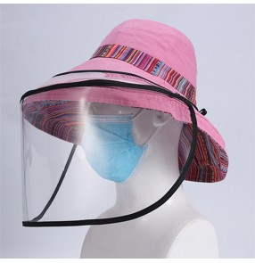 isolation anti-spray saliva Fisherman's cap with clear face shield dustproof sunscreen hat for women