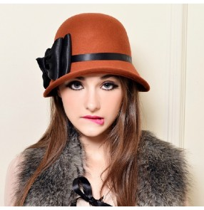 100% Pure Wool Felt hat Kentucky derby Hats Autumn/Winter Italy Women Fedora Hat Vintage Flowers Knight Caps