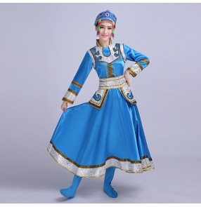 Blue red fuchsia hot pink long sleeves women's ladies female Mongolian folk dancing performance cosplay party outfits costumes dresses