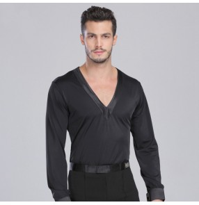 Adult boy's Men's deep v neck long sleeves stain ribbon latin dance shirt top black
