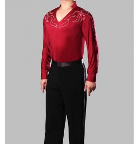 Adult boys kids children Men's male mans Wine red long sleeves spandex stand collar rhinestones v neck  leotard show play performance professional competition waltz tango flamenco dance shirts tops