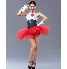 Adult girls black and red long tutu skirt ballet dance dress vestdios