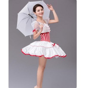 Adult women girls red striped long tutu skirt ballet dance dress