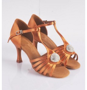 Adult women's high quality genuine leather diamond decoration silk satin upper bronze color soft cow leather sole latin dance shoes ballroom tango dance shoes 7.5cm heeled