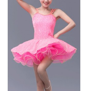 Adult women sequined ballet dance dress green fuchsia