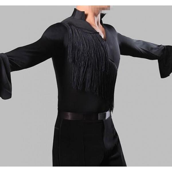 Black fringes tassels front v neck fashion men 39 s male for Mens shirt with tassels