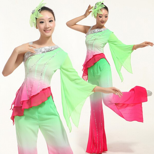 Ancient Traditional Plus Size Yangko Dance Costume / chinese Folk ...