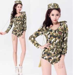 Army green camouflage printed long sleeves women's girls sexy cos play stage performance jazz singer club dance wear outfits bodysuits