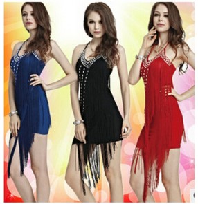 Ballroom dance dresses tassel sequins latin clothes for dancing samba fitness