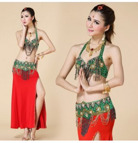 Belly dance clothes costume belly dance set indian dance wear 3pcs bra &skirt &Belt 9 colors for your choice.