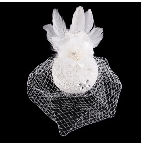 Birdcage Face Veil Wedding Bridal Fascinator Feather white Flower pillbox hat