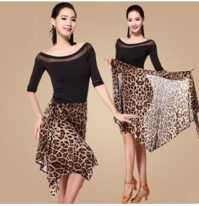 Black abd leopard patchwork short sleeves round neck wrap hip scarf skirt women's ladies female latin samba salsa cha cha dance dresses split set top and wrap scarf skirt