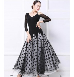 Black and polka dot middle long sleeves long length women's ladies female competition professional ballroom tango waltz dance dresses costumes dancewear