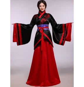Black and red blue royal blue white and purple violet patchwork long length long sleeves kimono ancient chinese folk fairy cos play cos play princess performance photos dresses gown robe outfits